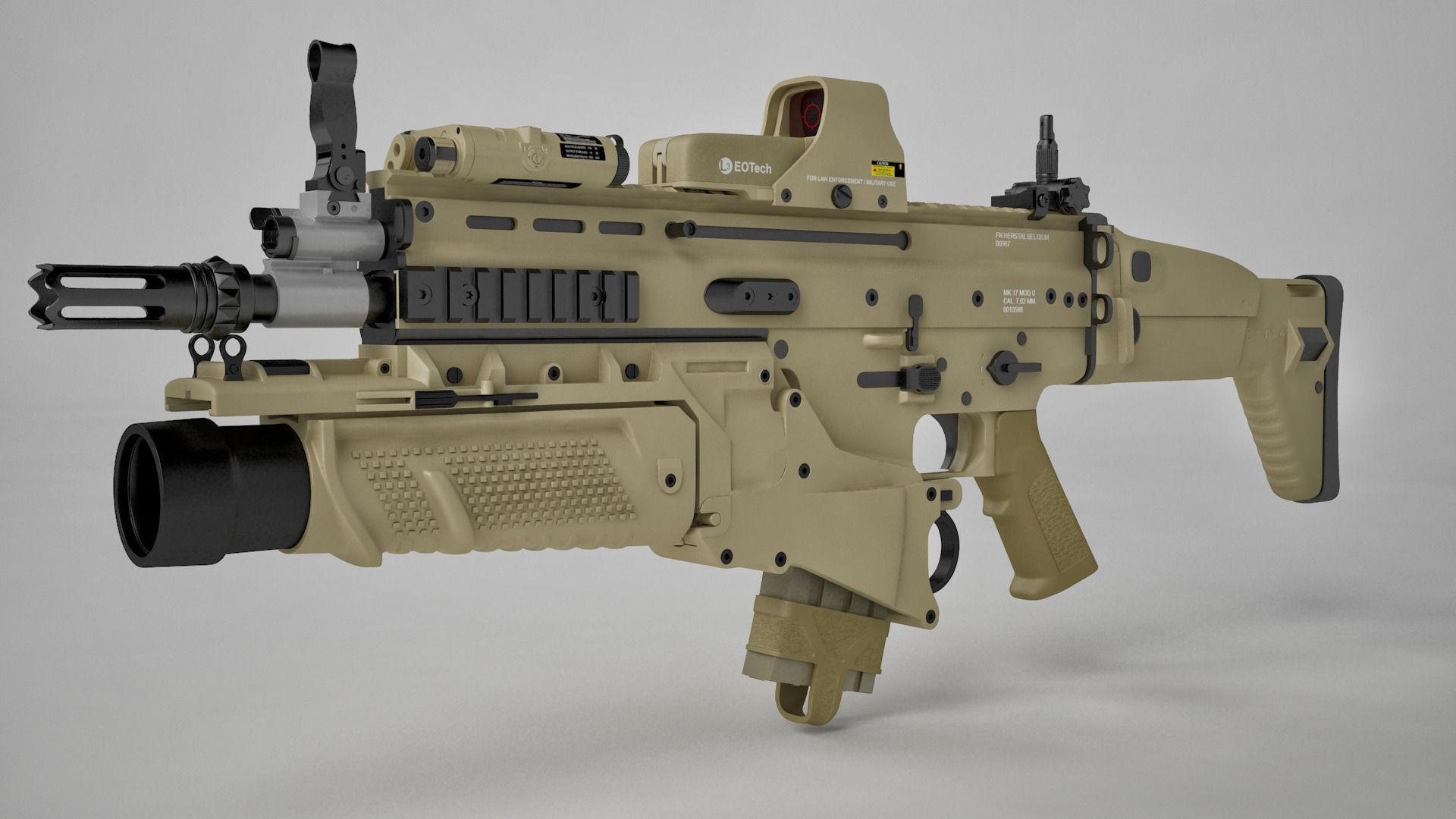 Industrial Kitchen Table Furniture Combat Assault Rifle Fn Scar H 3d Model Max C4d