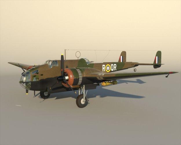 handley page  hampden england 1938 3d model max obj mtl fbx lwo lw lws ma mb 1