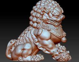 animal guardian lion or foo dogs 3d model