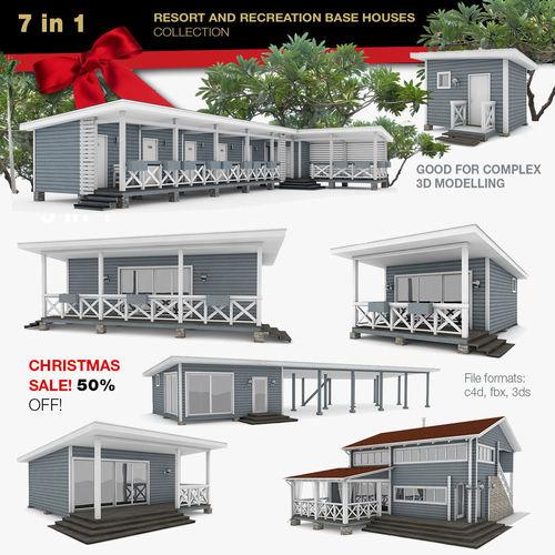 american recreation center houses 7 in 1 collection 3d model obj mtl 3ds fbx c4d 1