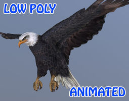 3D model Low poly Eagle 02 Animated - Game Ready
