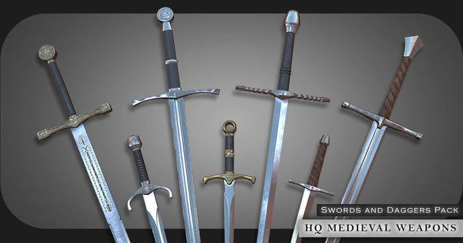 Car Games 2017 New >> 3D asset HQ Medieval weapons for games - Swords and