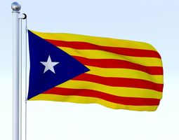 3D asset Animated Catalonia Flag