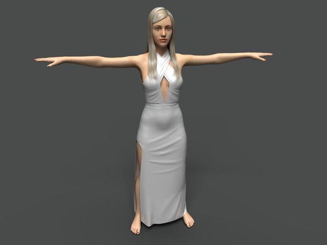woman-1 - middle poly 3d model max obj mtl fbx 1
