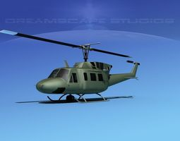 Bell UH-1N Twin Huey Bare Metal 3D Model
