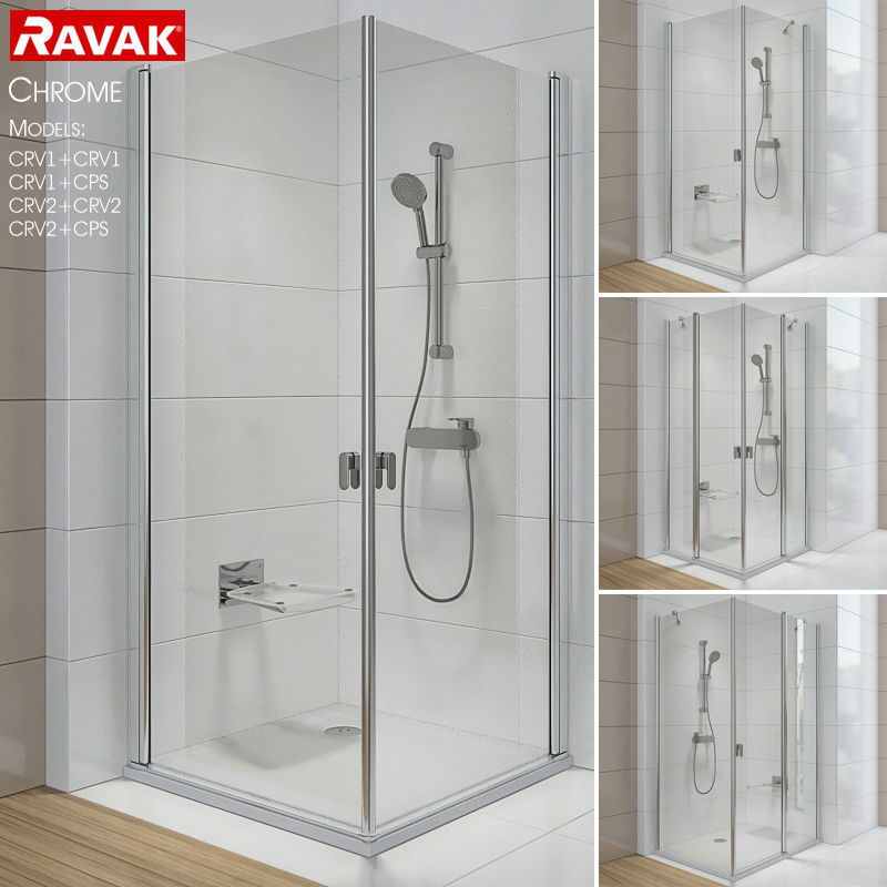luxury Corner shower cabins Ravak Chrome 3D | CGTrader