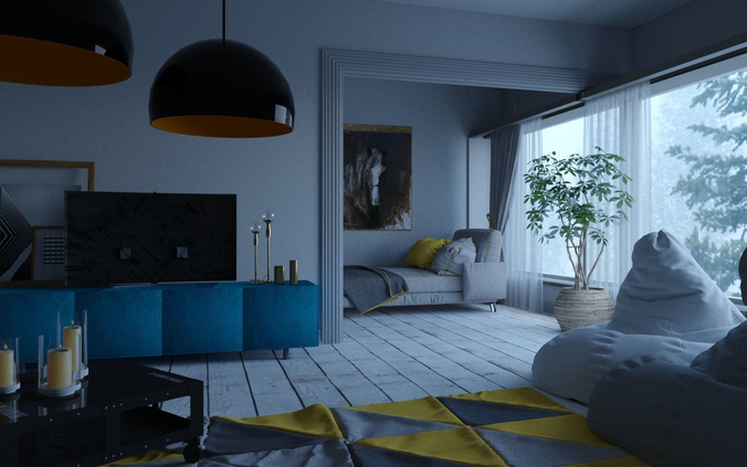 Living Room 3D Asset Animated