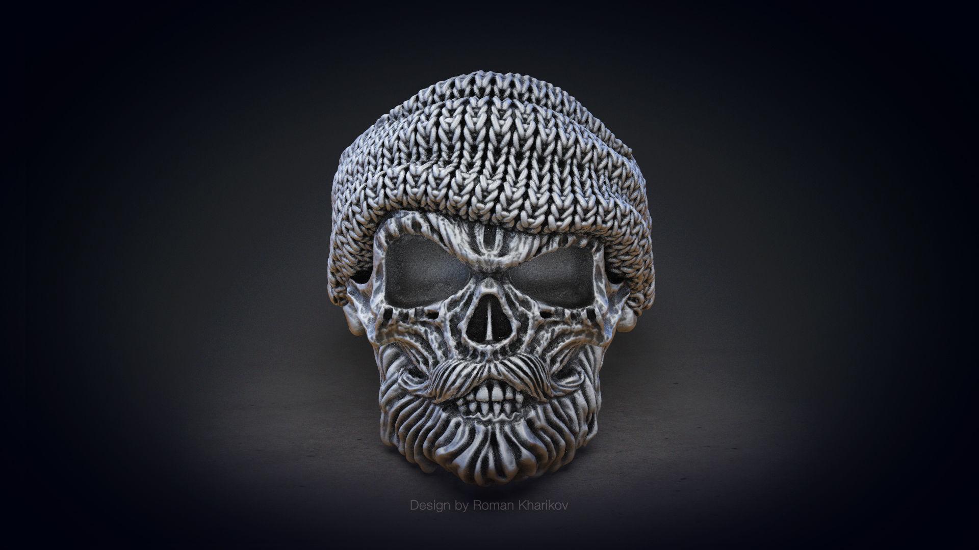 Skull ring with beard 3d model for 3d printing