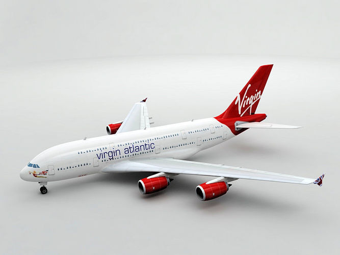 airbus a380 airliner - virgin atlantic 3d model low-poly max obj 3ds dxf stl wrl wrz 1