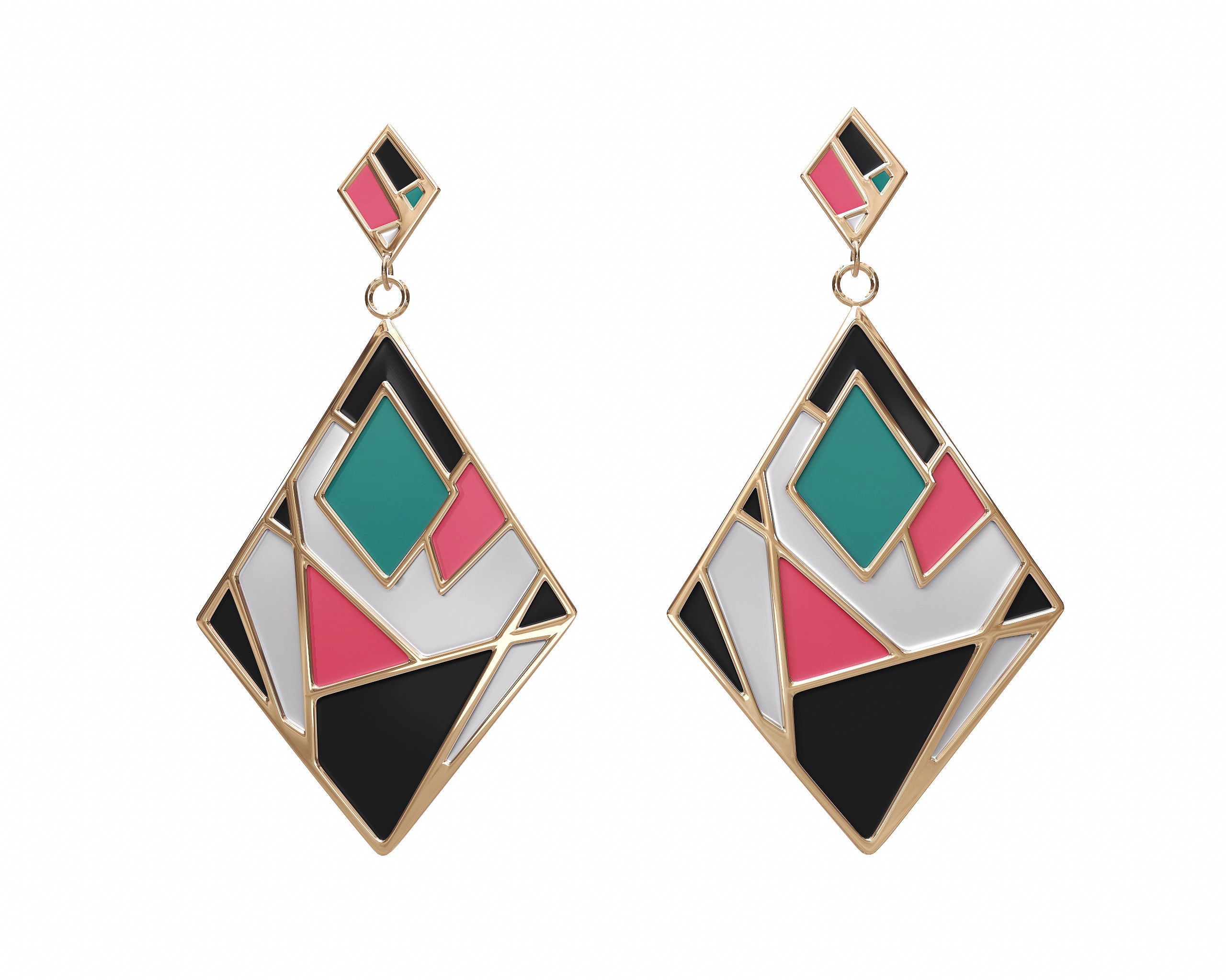 products min diamond earrings black enamel unleashed