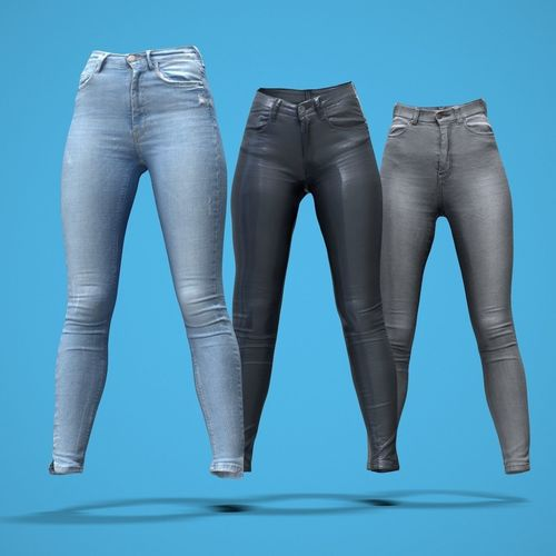 b1d024d7f73e grey and blue jeans leather pants collection 3d model obj mtl 1 ...