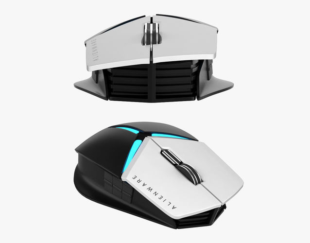 dell alienware elite gaming mouse aw958 3d model max obj mtl fbx unitypackage prefab 1