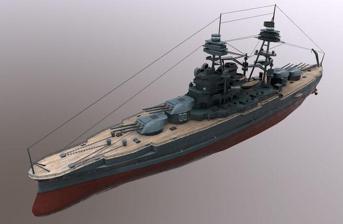 uss arizona battleship 3d model low-poly obj mtl fbx tga 1