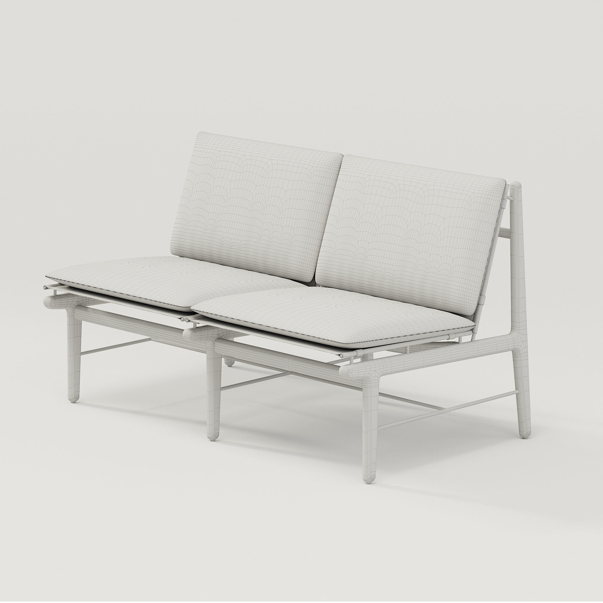 ... Dwr Finn Two Seater Sofa 3d Model Max Fbx 3 ...