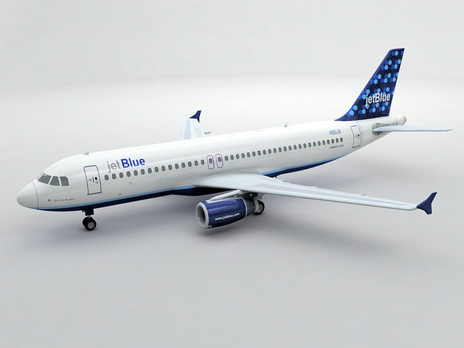 airbus a320 airliner - jet blue -  3d model max obj mtl 3ds dxf stl wrl wrz 1