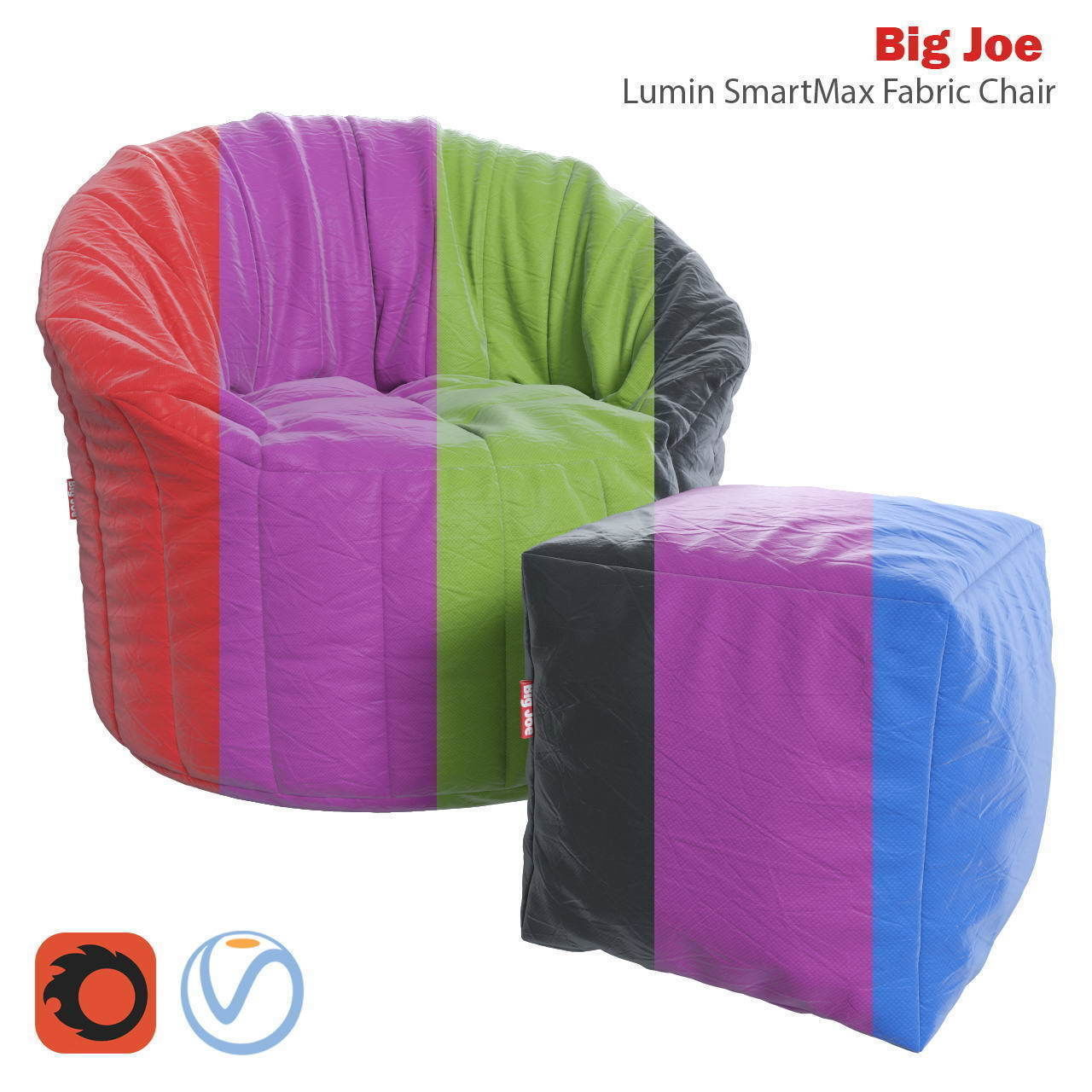 Enjoyable Big Joe Lumin Smartmax Fabric Chair And Ottoman 3D Model Cjindustries Chair Design For Home Cjindustriesco