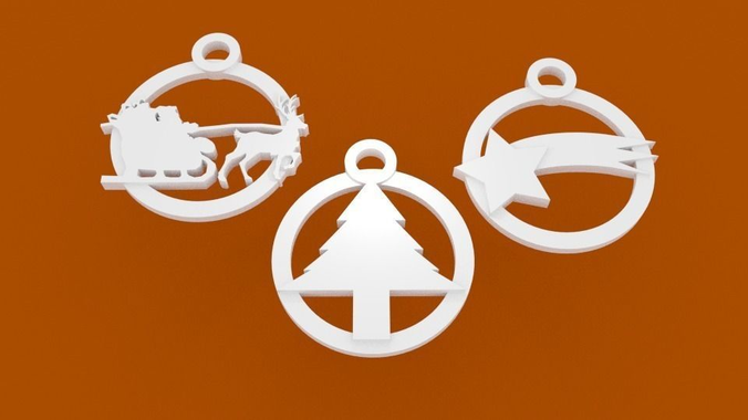 tris of christmas tree decorations and not onlystl file print 3d 3d model stl 1