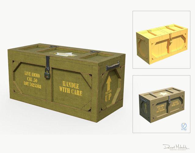 wooden military case pbr 3d model max obj mtl 3ds fbx 1