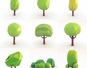 3D asset Low Poly Trees Set