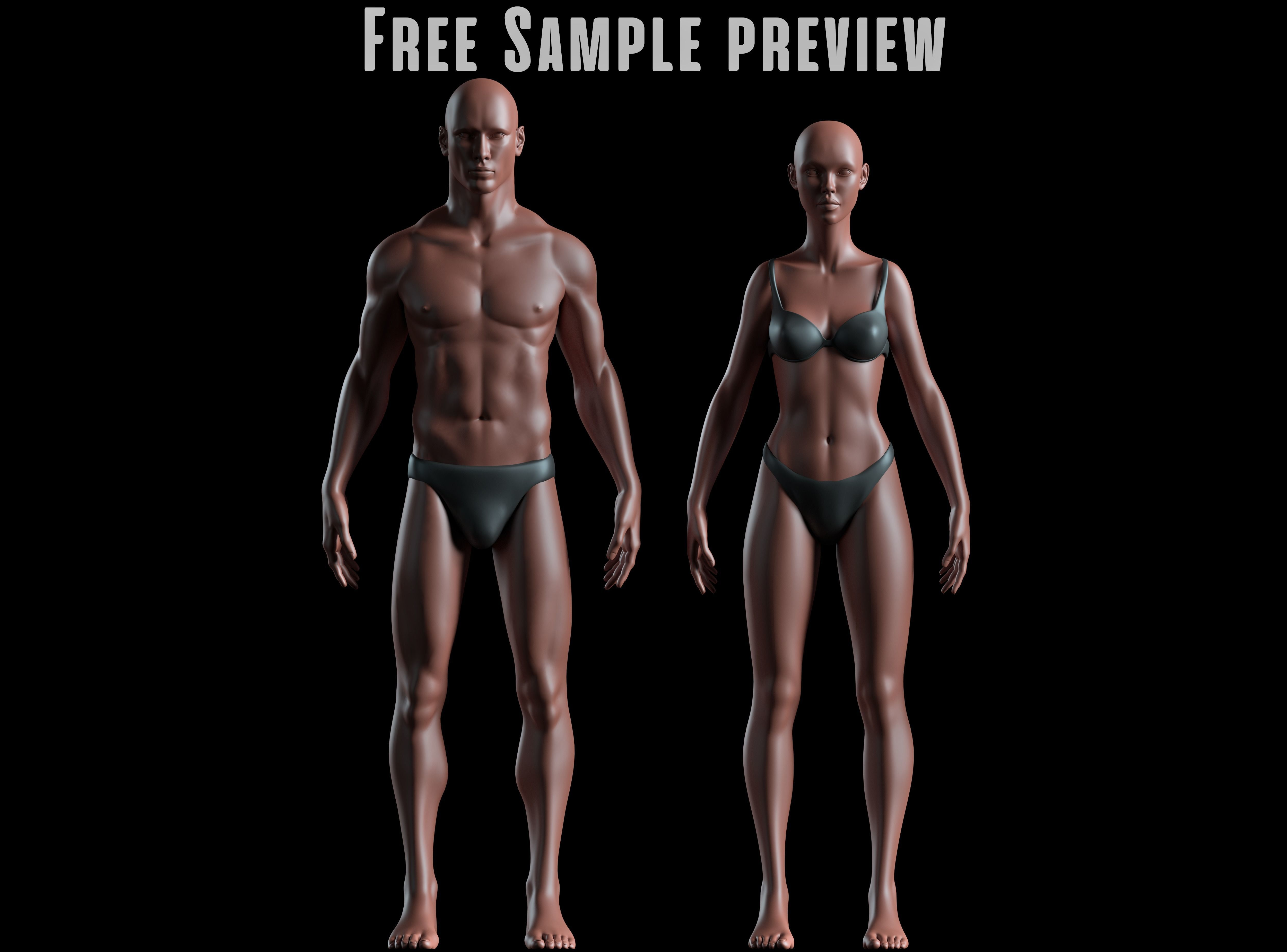 Realistic Human Basemesh - Male and Female - Free Sample Preview