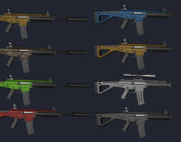 3D asset realtime Low Poly Weapons