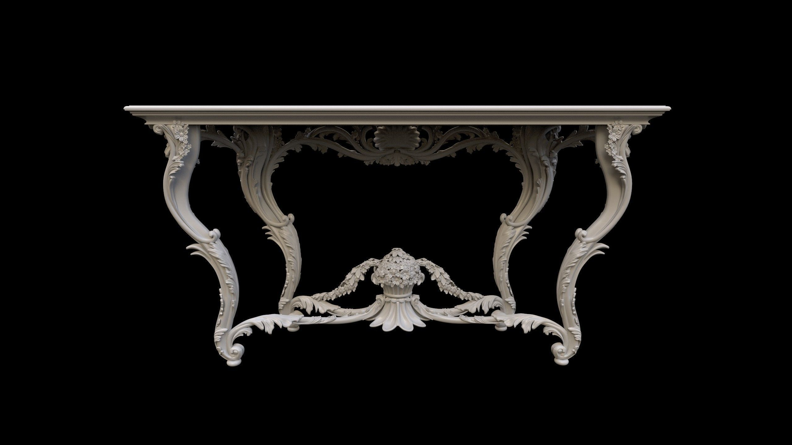 3D Vintage Gothic Marble Table