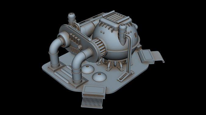 sci-fi power station 3d model max fbx 1
