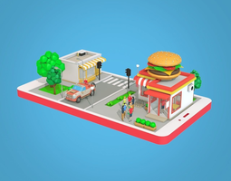 Cartoon Burger Cafe on Phone screen 3D asset
