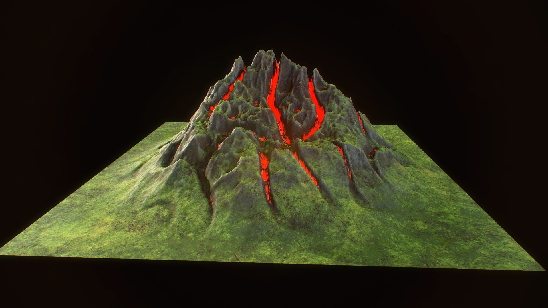 Fantasy mountain model for real time rendering