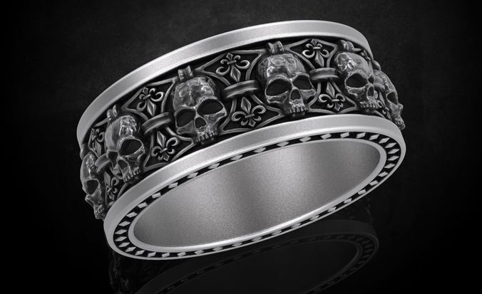 ring skull with heraldic lily many sizes 252 3d model stl 3dm 1
