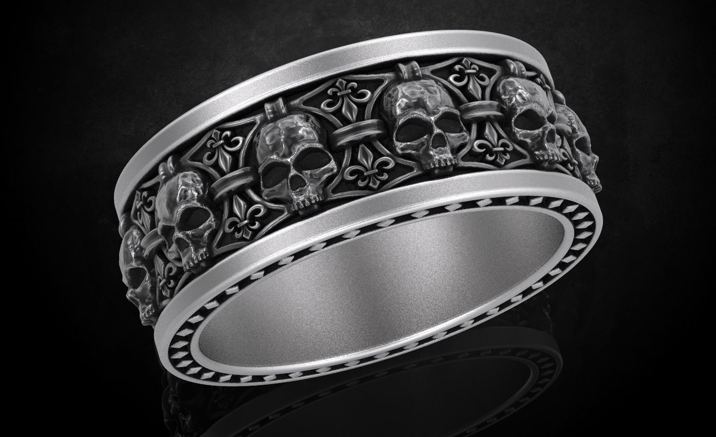 Ring skull with heraldic lily many sizes 252