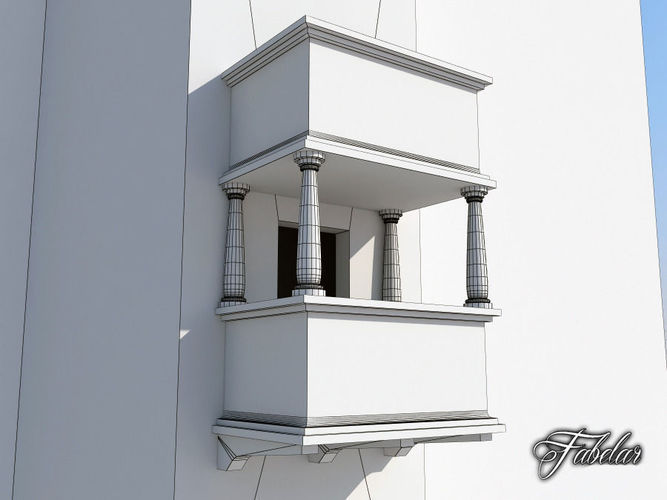 Balcony 3 free free 3d model max obj 3ds fbx c4d dae for Balcony models