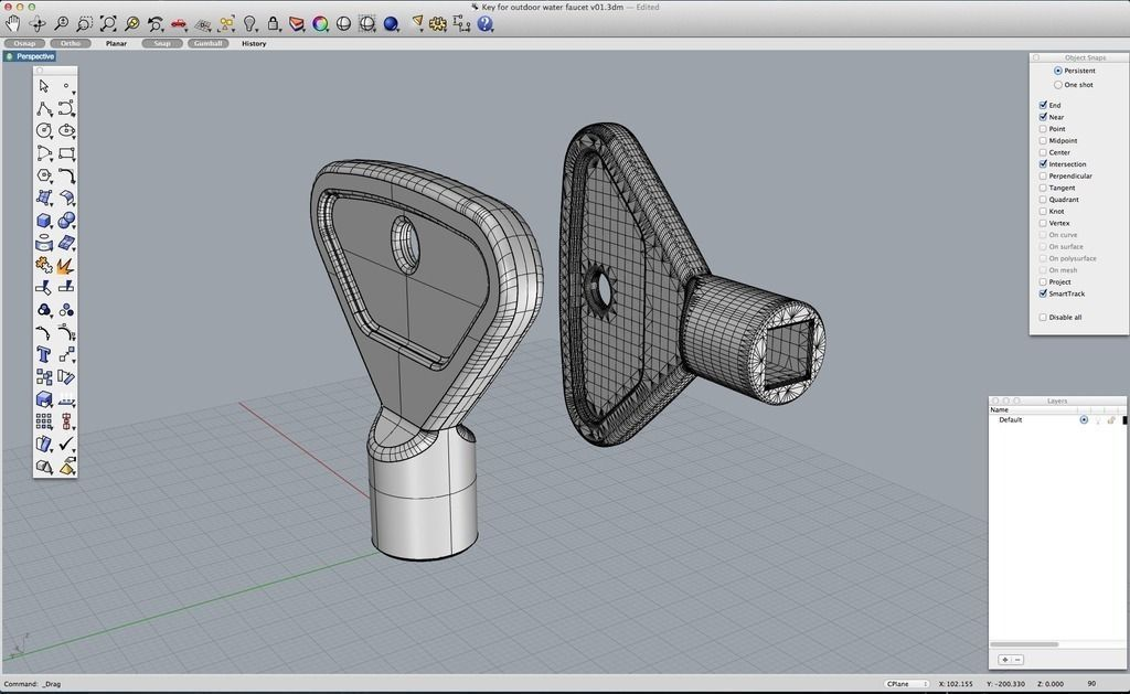 3D printable model Key for outdoor water faucet | CGTrader