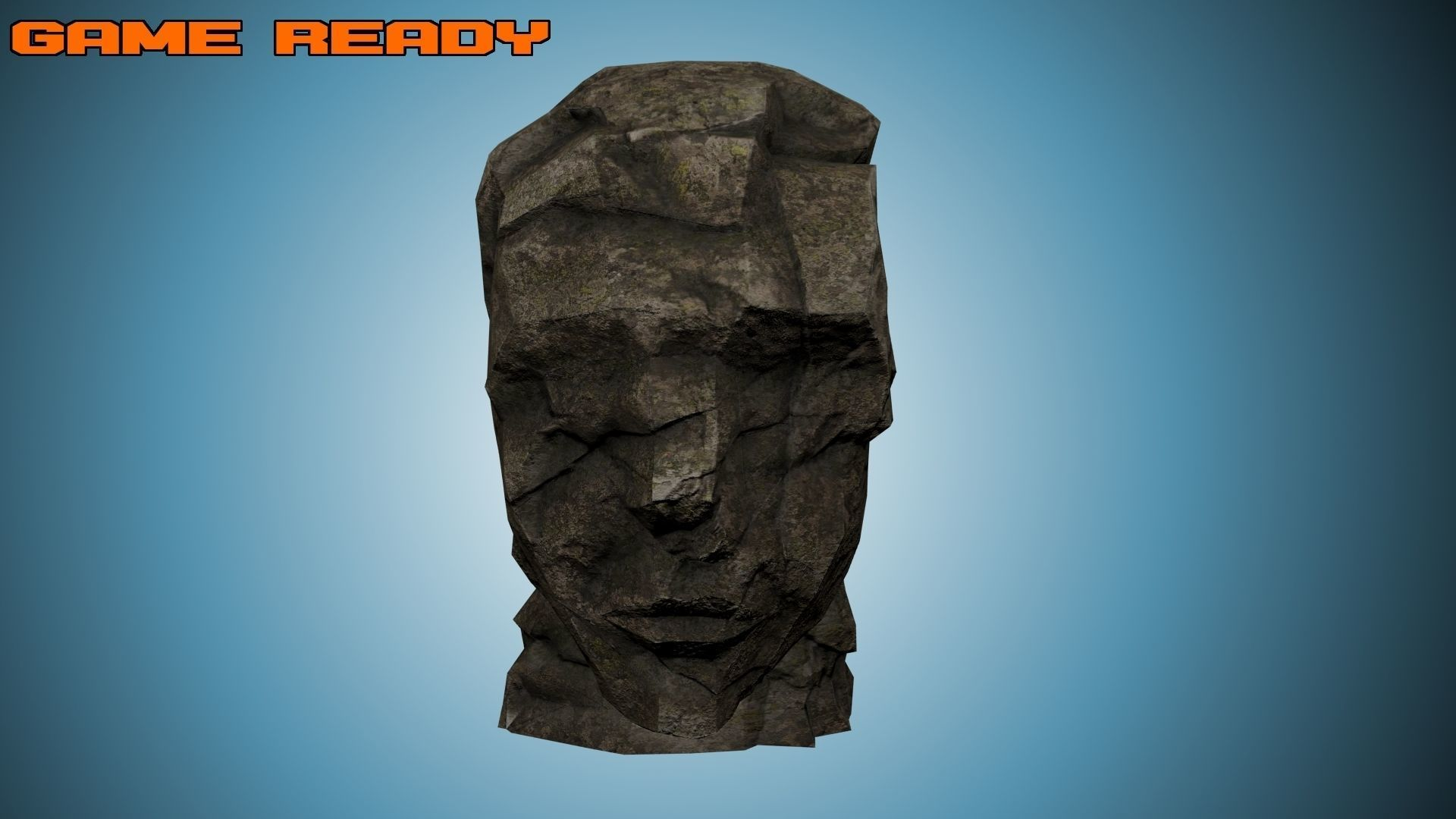 Game Ready Rock Formation - Ancient Stone Head