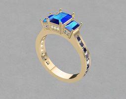 Emerald cut ring printable 3D print model
