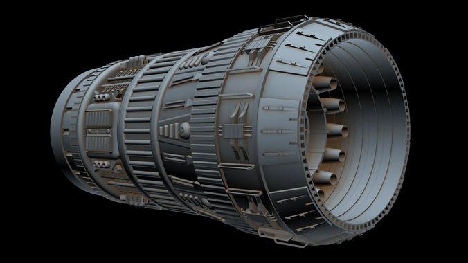 big starship engine 3d model max fbx 1