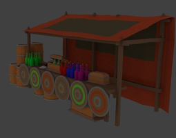 3D model LowPoly Trade tent