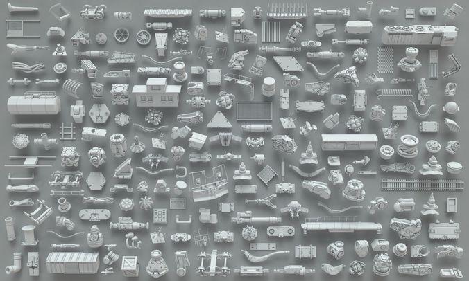 kit bash-223 pieces- part-6 3d model max obj fbx 1