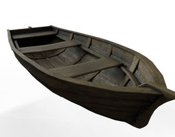 Wooden Boat 3D asset game-ready