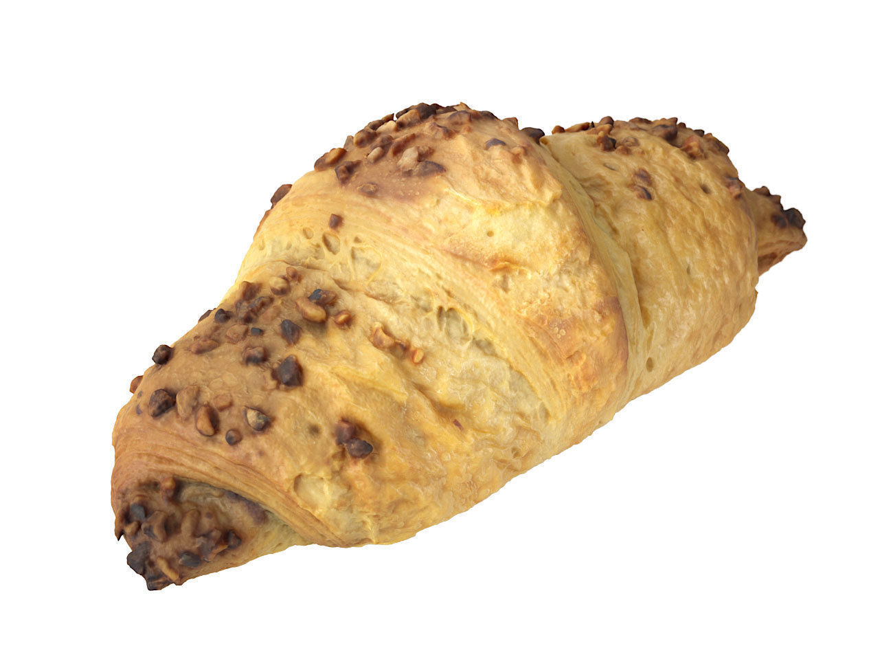 Photorealistic Chocolate Croissant 3D Scan