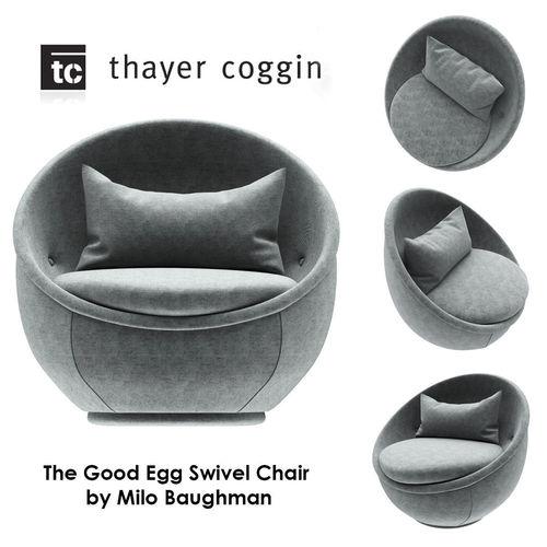 The Good Egg Swivel Chair By Milo Baughman 3D Model