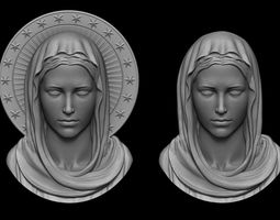 3D printable model Virgin Mary Pendant 2 Versions