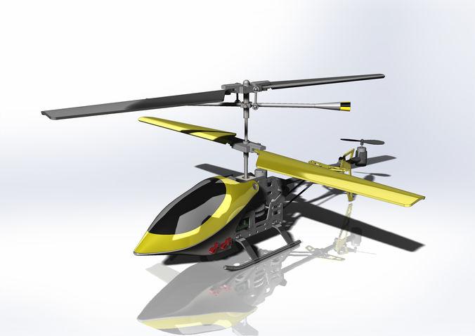 shiny plastic toy helicopter 3d project 3d model sldprt sldasm slddrw 1
