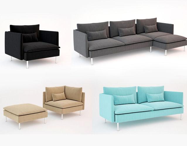 Ikea soderhamn sofa and armchair 3d models for Divan furniture models