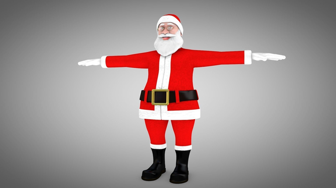 santa claus rigged 3d model and different face emotions 3d model low-poly rigged fbx ma mb 1