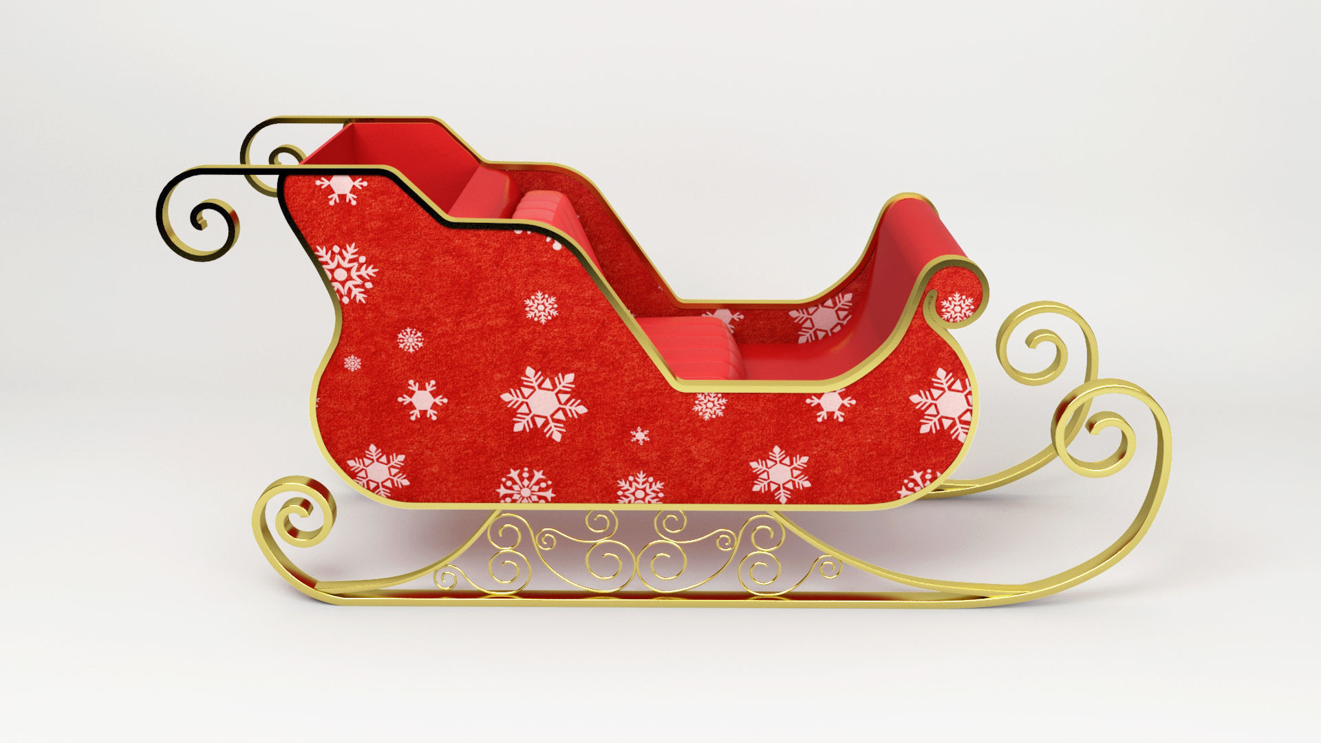 santa claus sled christmas sled 3d model max obj mtl 3ds fbx mat - Christmas Sled