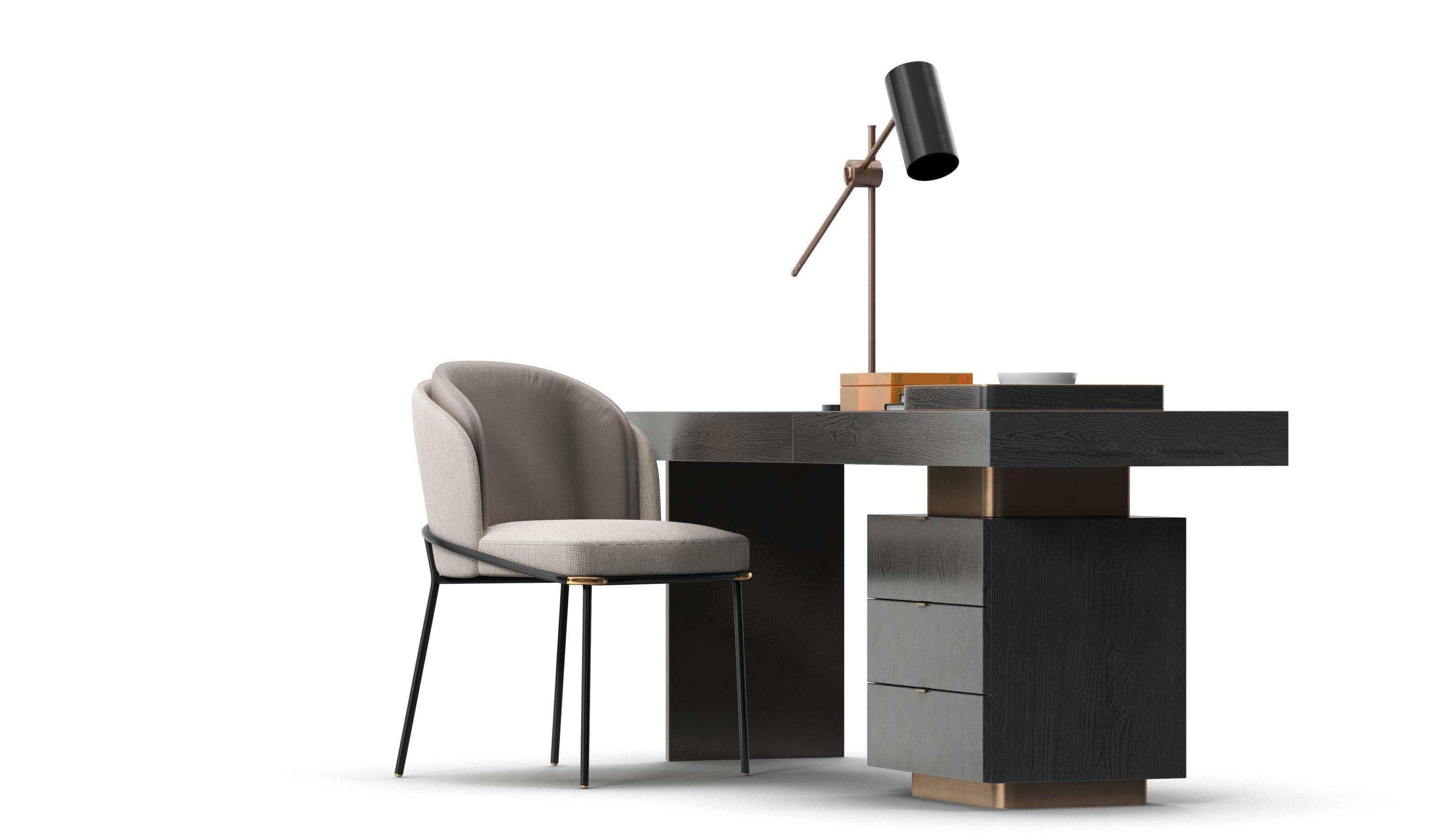 Minotti Carson Desk Fil Noir Chair Set 3d Model Max Obj 4