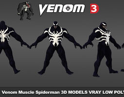 low-poly Venom Muscle Spiderman 3D models low poly