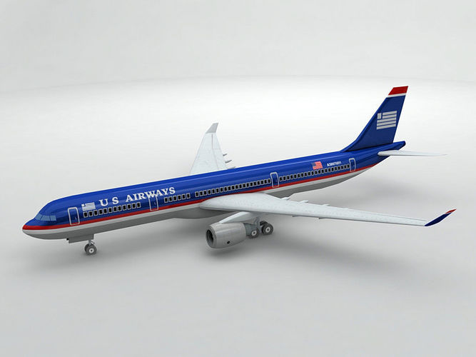airbus a330 airliner - us airways 3d model low-poly max obj 3ds dxf stl wrl wrz 1