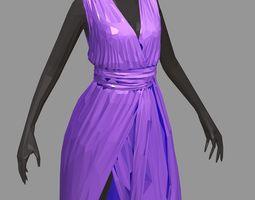 polygonalart long lilac dress white high heel 3D asset